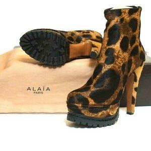 ALAÏA Leopard Calf-hair Platform Trek Ankle Boots